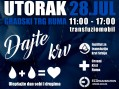 U utorak na gradskom trgu u Rumi biće organizovano dobrovoljno davanje krvi