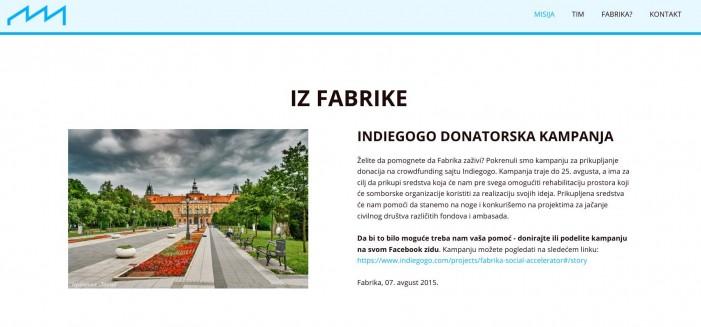 Inkubator Fabrika ideja i podrške iz Sombora pokrenuo donatorsku kampanju
