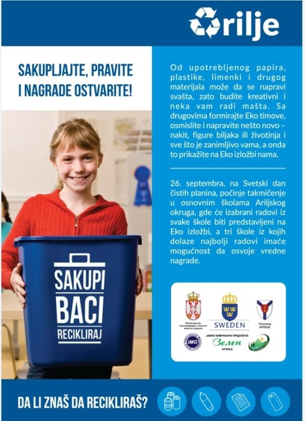 """U sklopu akcije """"Sakupi, baci, recikliraj"""" u Arilju takmičenje za osnovce"""